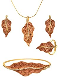 JFL - Traditional Ethnic One Gram Gold Plated Diamond Leaf Designer Pendant Set With Ring & Bangle For Women And...