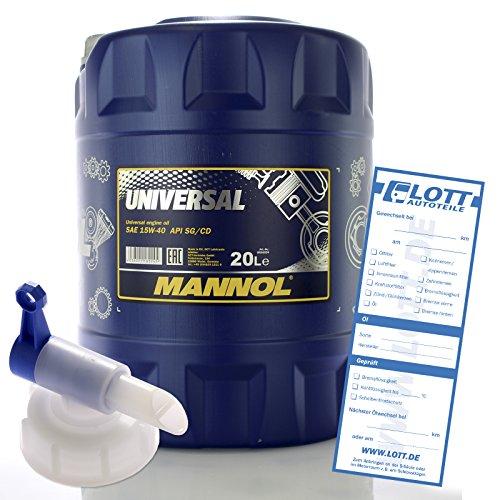 MANNOL 20L MN7405-20 Motoröl Universal 15W-40 API SG/CD hochwertiges Öl + Auslaufhahn
