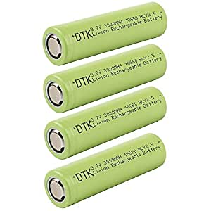 DTK Flat Top 18650 3.7V 3000mAh Pile Li-ION Batterie Rechargeable avec étui de Rangement (4 pièce)