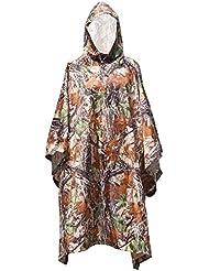 Impermeable camuflaje - SODIAL(R) Impermeable camuflaje de multifuncion Poncho de viajes militar al aire libre Proteccion contra la lluvia de mochila Estera de tienda impermeable Toldo Montanismo