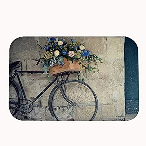 Rioengnakg vintage Vélo avec un panier de fleurs Zone Tapis Paillasson d