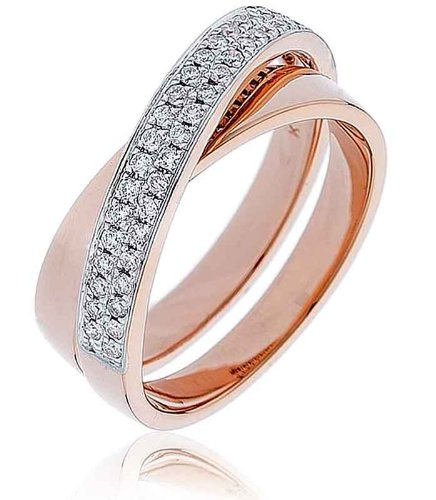 0.30CT Certified G/VS2 Round Brilliant Cut Micro Set Double Band Diamond Ring in 18K Rose Gold