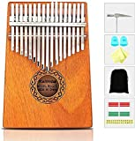 Kalimba, 17 Touches Pour le Pouce Piano Acajou Professionnel Marimba Instrument Avec Marteau d'accordage et 7 Accessoires Pour les Amateurs de Musique Débutants