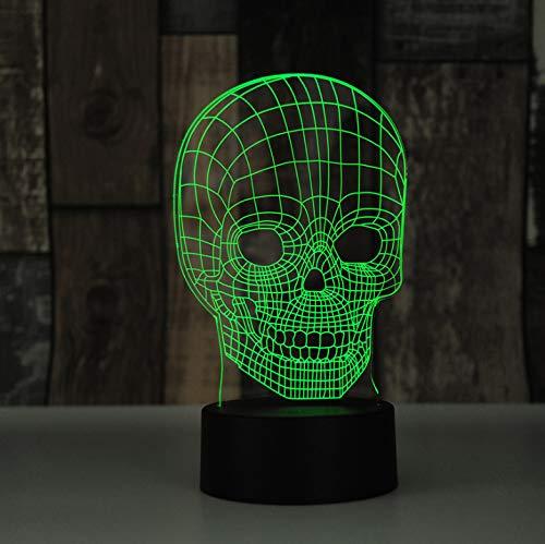 Schädel Kopf Unfug 3D LED USB Lampe Terror Thema Party Dekoration Scary Geschenk Horrible Atmosphäre Farben Ändern Birne (Themen Familien Für Abendessen)