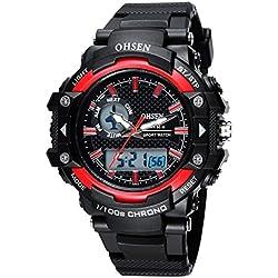 OHSEN Men Women Sport Watch Waterproof LED Digital Analog Display with Stopwatch Chronograph Alarm - Red
