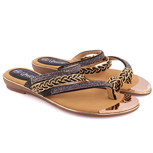 Unze Nouveautés Femmes Wamilicia 'Bracelet Toe Anneau Casual Carnival Flat Summer Chaussures Sandales Chaussures Taille 3-8 Noir