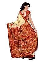 Mimosa Women Kanchipuram Artificial silk Saree With Contrast Blouse (Off-White ,3165-97-1201-PK-OFFWT)