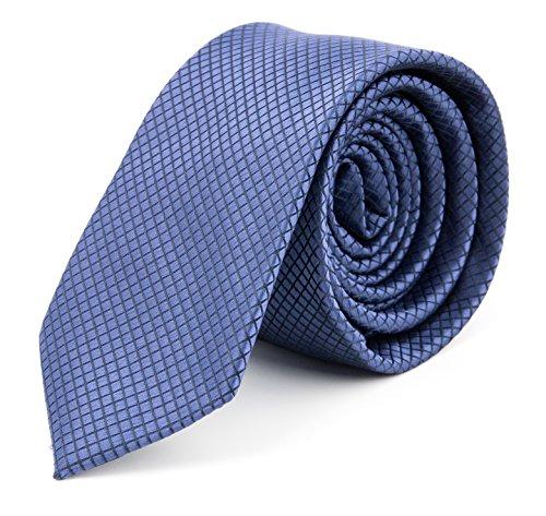 MASSI MORINO Herren Slim-Fit Krawatte, handgenäht aus Mikrofaser in verschiedenen Farben - schmale Mikrofaser-Krawatte, Skinny & Silk Ties (6cm) (Blau feinkariert)