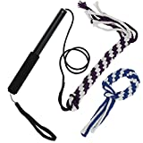 ANG Flirt Pole Rope Tug Dog Toy, Braided Cotton Blend Rope Outdoor Interective Toy for Pulling, Chasing, Chewing, Training (S)