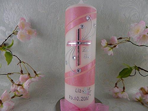 Taufkerze Kreuz silber rosa glitzer handmade modern Taufkerzen für Mädchen 250/70 mm personalisiert - 2