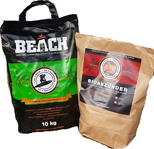 BlackSellig 10 Kg Beach Kokos Grill Briketts REACH registriert + 50 Stück Anzünder perfekte Profiqualität - versandkostenfrei!!!!!