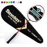 Senston N80 Graphite unique de haute qualité raquette de badminton, en fibre de carbone raquette de badminton, y compris Badminton Sac,Rouge
