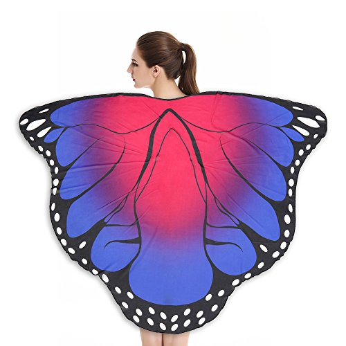 Lazzboy Weicher Stoff Butterfly Wings Schal Fairy Nymph Pixie Kostümzubehör Modelle Sarong Pareo Wickelrock Strandtuch Tuch Wickeltuch Handtuch Gratis Schnalle(A,Ca 180X145CM)