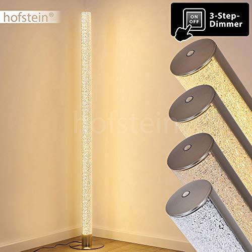 Lámpara de pie LED Pipe de metal en níquel mate, 1 x 14,5 vatios, 1200 lúmenes, 3000 Kelvin (blanco cálido), con efecto purpurina y atenuador táctil en la carcasa de tres fases