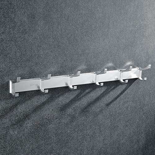 Ktol moderno autoadesivi attaccapanni muro, stabile impermeabile appendiabiti da parete con 6 ganci salvaspazio vestiti per ha-cromo 17.4in