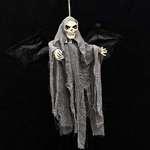 PANGUN Neue Halloween Party Dekoration Sound Control Gruselig Beängstigend Animierte Skelett Hängenden Ghost-Grau