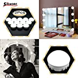SOLMORE 12 LED Vanity Mirror Lights Kit Make Up Light Hollywood Style Dressing Table Bulbs Set Strip Lamp with Dimmable Lights for Vanity Bedroom Bathroom Makeup Room Decoration Lighting Fixture USB Charging