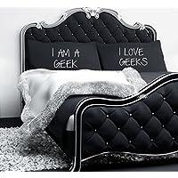 60 Second Makeover Limited I Am A Geek I Love Geeks Negro Funda de Almohada par de Parejas Fundas de Almohada Funda de Almohada Cama Regalo San Valentín
