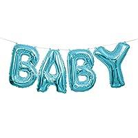 Questa confezione contiene 4 palloncini in alluminio ed un nastro bianco.  I palloncini rappresentano le lettere della scritta baby in blu e misurano circa 42 cm di altezza.  Si consiglia di gonfiarli ad aria.  Il nastro misura circa 2.74 ...