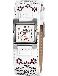 Just Watches Mädchen-Armbanduhr Analog Quarz Kunstleder 48-S3913-WH