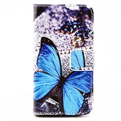 Più colorate Ancerson in pelle PU Flip Custodia per cellulare per Apple iPhone 5/5S/5G in pittura ad olio Stil Colorful Painting Custodia Flip Case Custodia in similpelle custodia per cellulare con fu Blu, farfalla