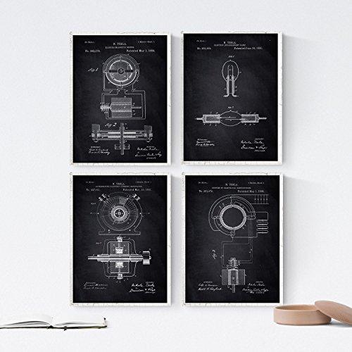 Nacnic Negro - Pack 4 Láminas Patentes Electricidad