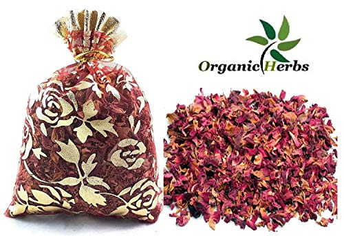 Organic Herbs TM Pétalos de rosa secos de 50 unidades de 2 x 10 g de flores  orgánicas para decoración de coches