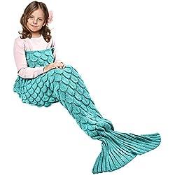 Hecho a mano de punto manta de cola de sirena todas las estaciones cálido sofá cama sala de estar manta para niño, Patrón de Fish-escalas, Verde, 140 x 70cm