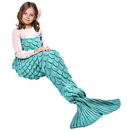 Ecrazybaby888 coperta a coda di sirena fatta a mano, coperta a maglia calda per tutte le stagioni divano trapunta a soggiorno per bambini, modello di squame di pesce, 140 x 70 cm, verde