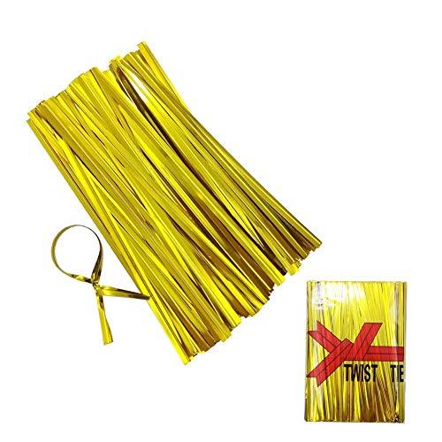 Heatigo 800 Stück Metall-Spiralbinder, Twist Ties for Bindestreifen, Verpackung für Bäckerei, Seife, Plätzchen,Schokolade, Bonbons, Puffreis (Gold) -
