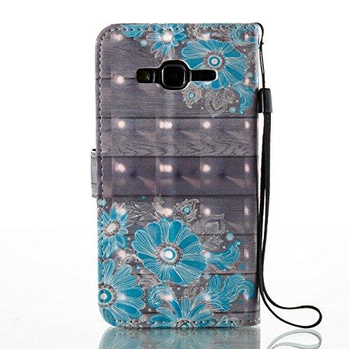 Samsung J3 Hülle , Tasche für Galaxy J3 Premium 3D Blume Geldbeutel Kunstleder Flip Taschenhülle Handytasche Rückseite Schale für Samsung Galaxy J3 (2016) (5.0 pouces) Bling Magnetverschluss Kartenfäc Blumen 3