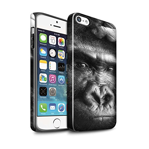 STUFF4 Glanz Harten Stoßfest Hülle / Case für Apple iPhone 7 / Faultier Muster / Zoo-Tiere Kollektion Gorilla / Affe