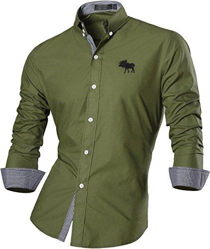 jeansian Herren Freizeit Hemden Shirt Tops Mode Langarmshirts Slim Fit 8558 ArmyGreen