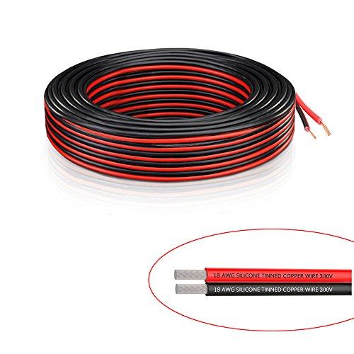 Draht 2 12 (18AWG Elektrische Draht–Verlängerung 12V Kabel Silikon Draht 2Kordel 140Füße/42,7M (70FT Rot + 70FT schwarz) DC Draht Hookup gestrandet Kupfer für LED Strip Treiber, automatisch und andere)