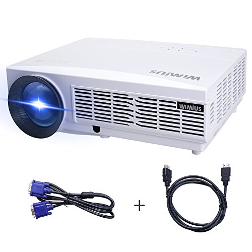 Beamer Full HD, Beamer LED 3300 Lumens HD Beamer LCD 1280*800 Video Projektor Heimkino WiMiUS T6 Projector Unterstützung 1080P Mit Kostenlose HDMI-Kabel inklusive Schnittstellen HDMI USB VGA AV SD Weiß