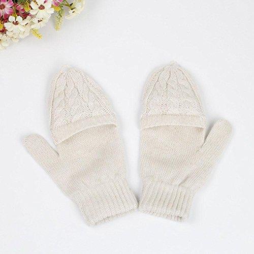 HZJ Koreanische Version der Lady Cute Finger Thin Knitting Handschuhe, Rice (Rice Kinder Kostüm)