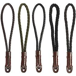 MASUNN Universal Appareil Photo Numérique Couleur Main Corde Toile PU Cuir Lanière De Coton Bracelet Main-C