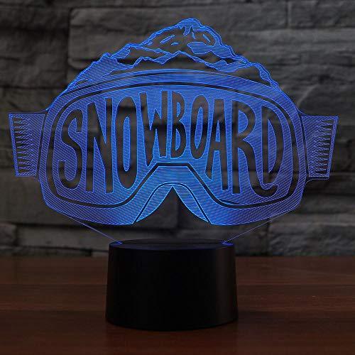 Tianyifengg 3D-LED-7 Farbe-Fernbedienung-Nachtlicht-Skibrille Tischlampe Schlafzimmer Nacht dekorative Snowboard Schlaf Beleuchtung
