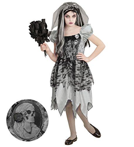 Karneval Klamotten Horror Braut Kostüm Gothic Braut Mädchen Halloween Mädchenkostüm 140