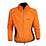 WOLFBIKE bicicleta Jersey Hombre Montar transpirable Ciclo Chaqueta Ropa bici camisas de manga largas Abrigo del viento XL Naranja