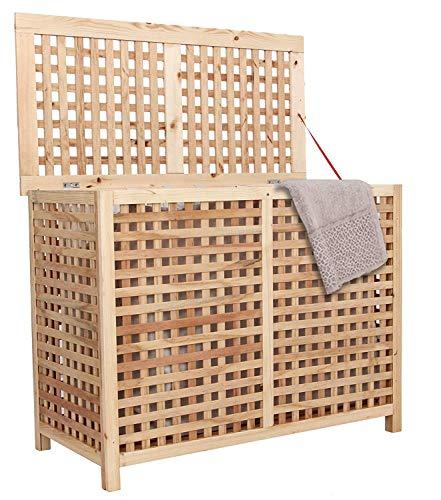 habeig Wäschetruhe WK02 Echtholz Wäschebox Wäschesack Wäschekiste Wäschepuff Wäschekorb