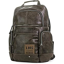 "Lois - 96036 Mochila Porta Ordenador 15"" con asa Superior y Tiras Acolchadas. Bolsillos con Cremallera. Piel sintética Polipiel, Color Marron"