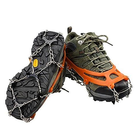 Anti-slip Ice Cleats Shoe Boot Tread Grips Traction Crampon Chain Spike Sharp Snow Walking Walker - Ice Grips Orange