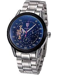 RELOJES Relojes para hombre Hombres Mecánico Esqueleto automático Resistente al agua Deportes militares Cara grande Dial