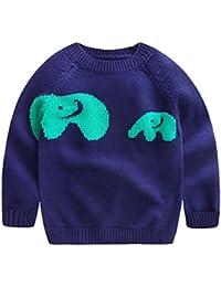 Happy Cherry - Ropa Niños para Otoño Invierno Jersey Infantil de Ganchillo Punto Cuello Redondo Suéter de animal de Elefante-Gris Beige Azul Amarillo-Talla 12-18meses 18-24meses 2-3años 4-5años