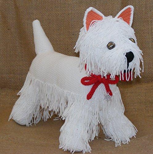 Westie Terrier, Plüschhund Geschenk, Häkelarbeit westie, amigurumi weißer Terrier, gefüllter Welpe, großer Terrier mit rotem Bogen, Geburtstagsgeschenk