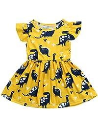 Amlaiworld Vestidos de bebe Niña , Vestido de fiesta de estampado de dinosaurios de