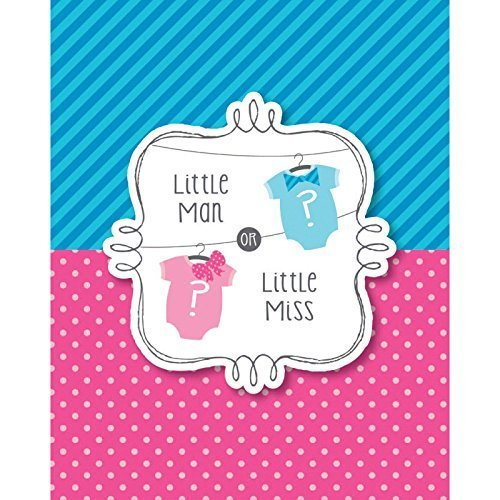 Bow or Bowtie? Invitation (8) Invites Little Man or Miss Gender Reveal Shower by Creative Converting (English Manual)
