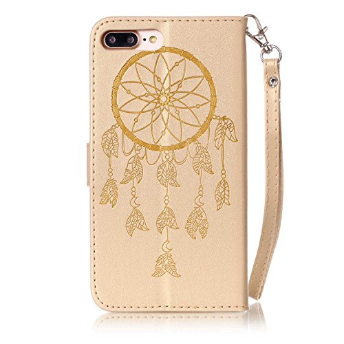 Hülle für iPhone 7 Plus, Tasche für iPhone 8 Plus, Case Cover für iPhone 7 Plus, ISAKEN Glitzer Strass Kristall Blume Schmetterling Muster Folio PU Leder Flip Cover Brieftasche Geldbörse Wallet Case L Dream Catcher Gold