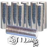 Sparpack: 10 x Luftschlangen Silber Metallic - 10 Rollen - Partydeko Fasching Karneval & Co.